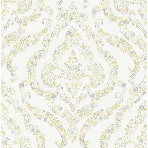 Featherton Mustard Floral Damask Strippable Wallpaper (Covers 56.4 sq. ft.)