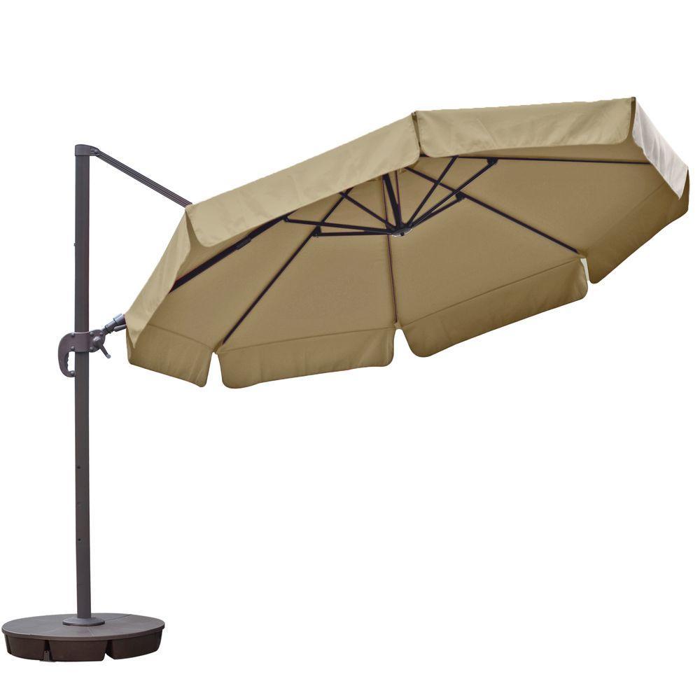 island umbrella freeport 11 ft  octagon cantilever with valance patio umbrella in beige