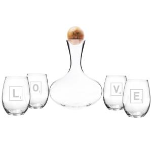 Love Letter Wine Decanter and Glass Set by