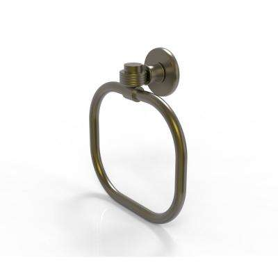 Continental Collection Towel Ring with Groovy Accents in Antique Brass