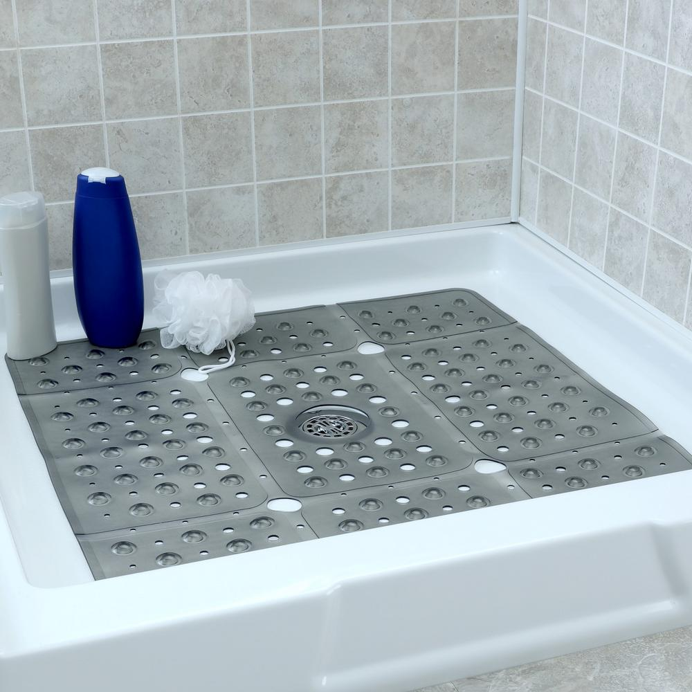 86893afc8cca0 SlipX Solutions. 27 in. x 27 in. Extra Large Square Shower Mat in Gray