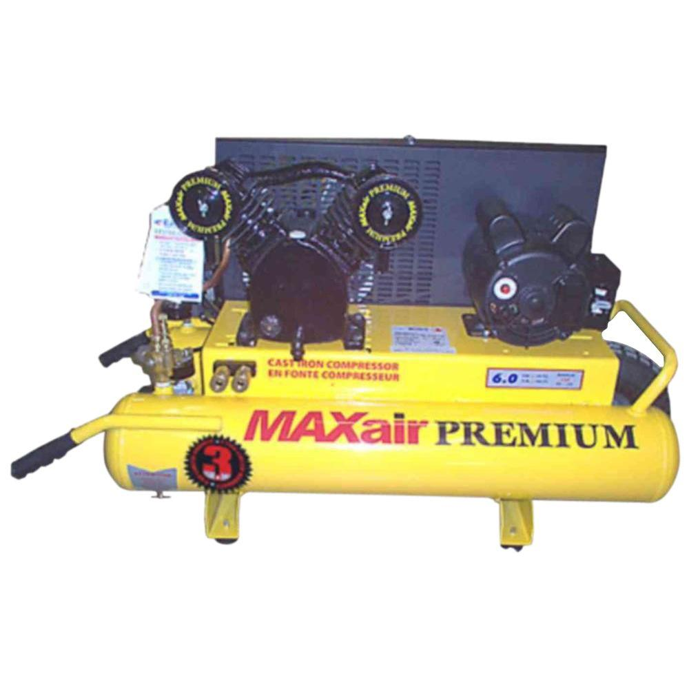 Maxair Wheelbarrow, 8-Gal. Portable, Dual Volt 120/240-Volt Electric Air Compressor
