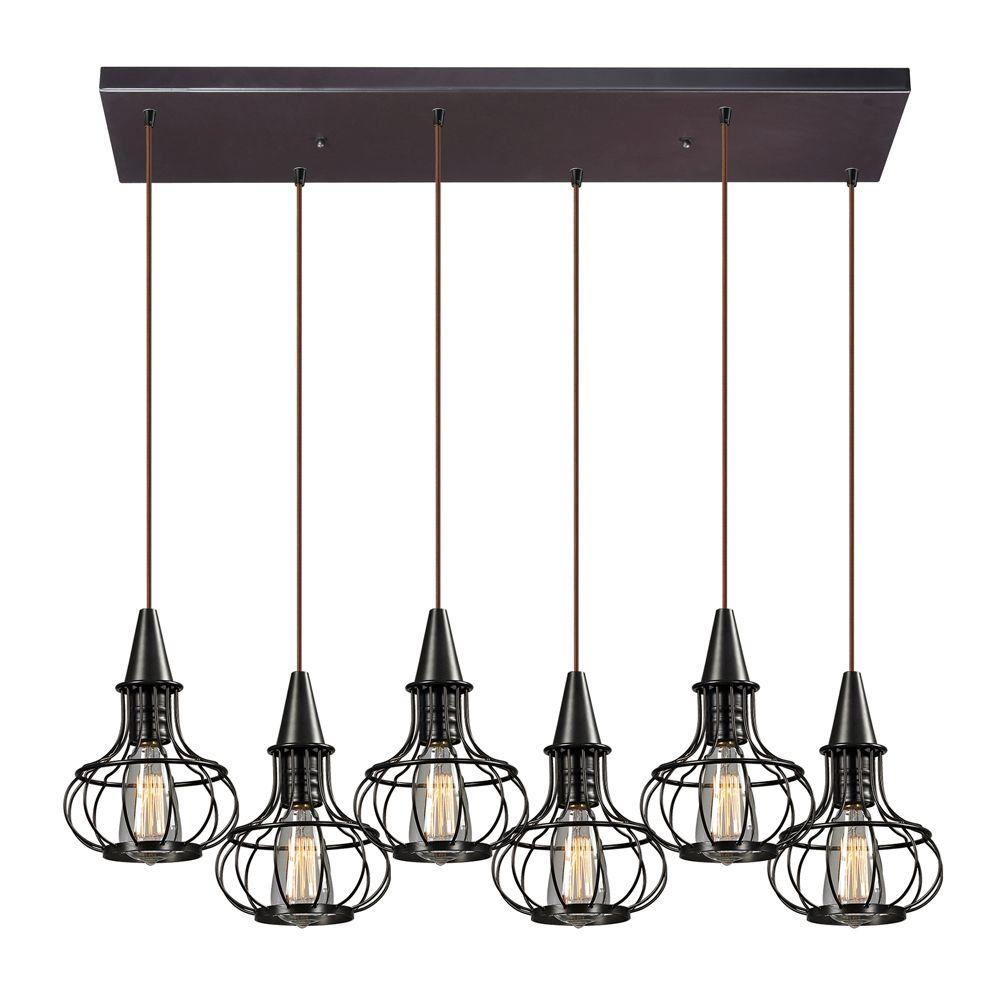 Titan Lighting Brightling Collection 6-Light Oil-Rubbed Bronze Mini ...