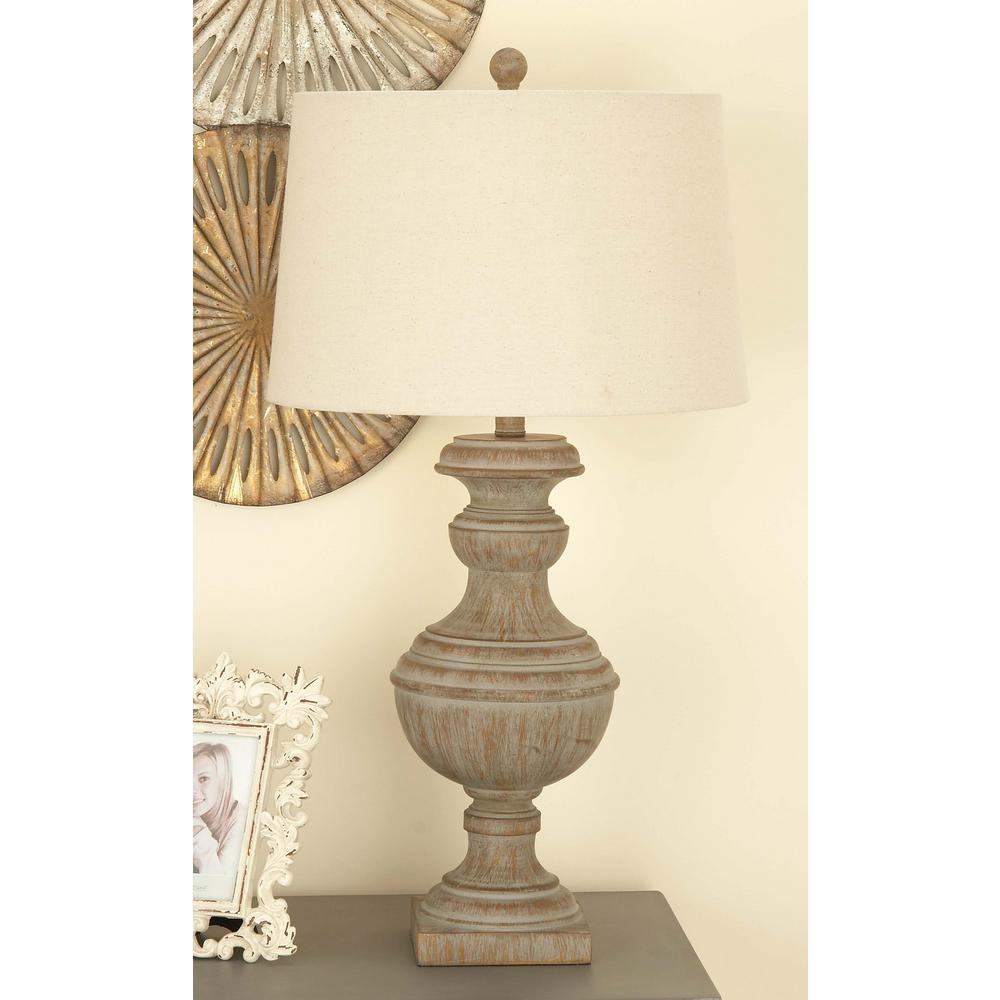 30 in. Classic Elegance Drum-Type Polystone Table Lamp in Distressed Dark Brown