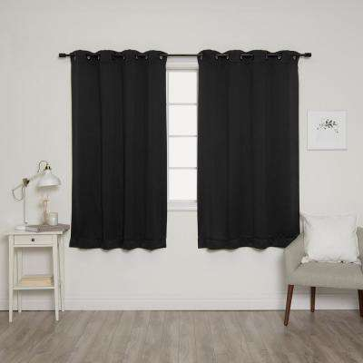 63 in. L Onyx Grommet Blackout Curtains in Black (2-Pack)