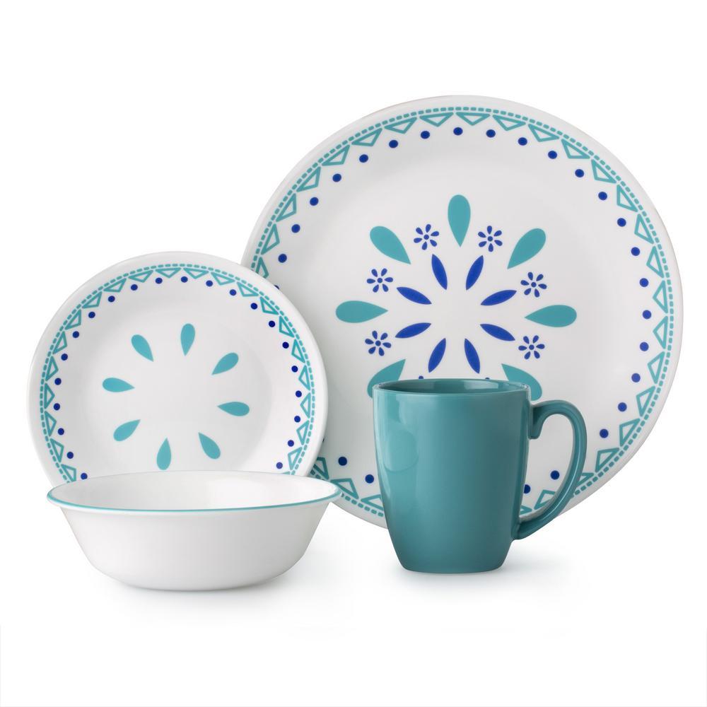 16-Piece Contemporary Santorini Sky Glass Dinnerware Set (Service for 4)