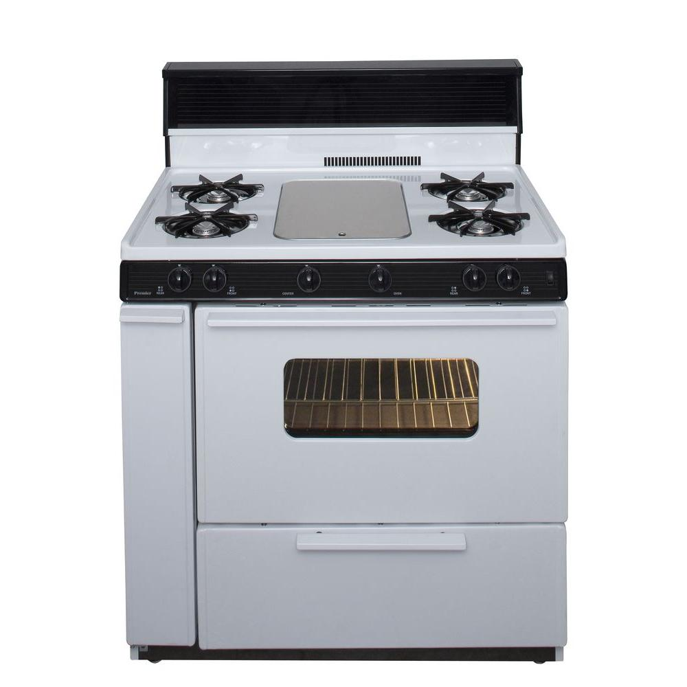 Premier 36 in. 3.91 cu ft. Battery Spark Ignition Gas Range in White