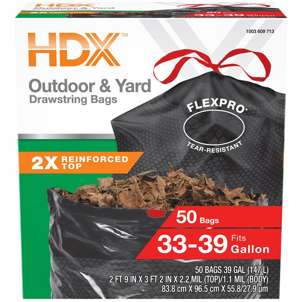 HDX FlexPro 33 Gal  - 39 Gal  Black Drawstring Outdoor and Yard Trash Bags  (50-Count)
