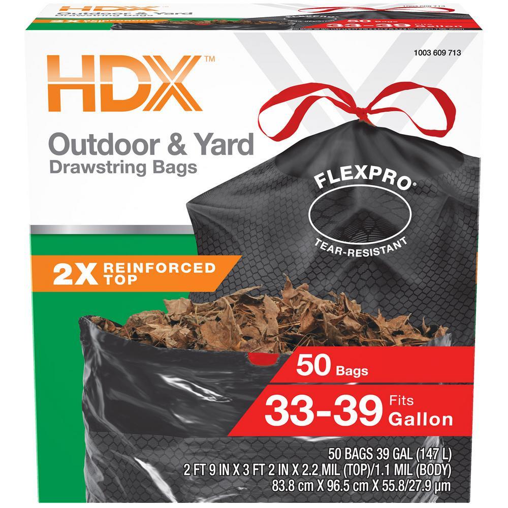FlexPro 33 Gallon - 39 Gallon Black Drawstring Outdoor and Yard Trash Bags (50-Count)
