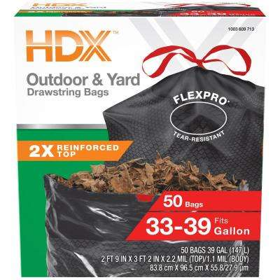 FlexPro 33 Gallon - 39 Gallon Black Drawstring Outdoor and Yard Trash Bags (50-Count)
