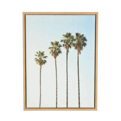"24 in. x 18 in. ""Four Palm Trees"" by Tai Prints Framed Canvas Wall Art"