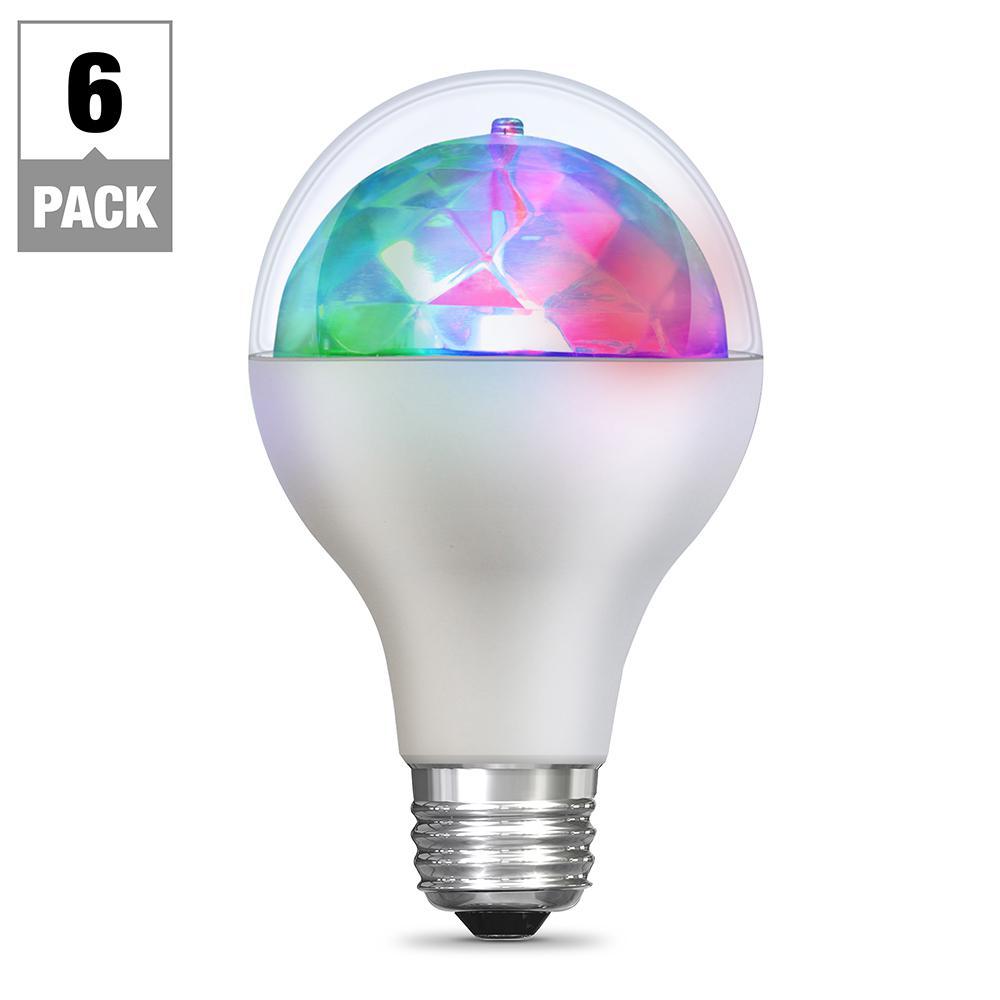 5-Watt Equivalent E26 Multi Color Disco Party LED Light Bulb (6-Pack)