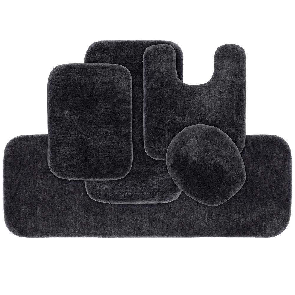 Traditional Dark Gray 5-Piece Washable Bathroom Rug Set