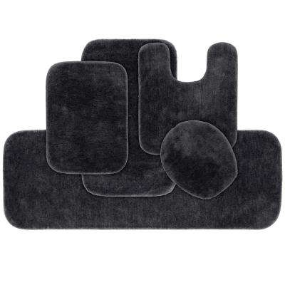 Traditional 5 Piece Washable Bathroom Rug Set in Dark Gray