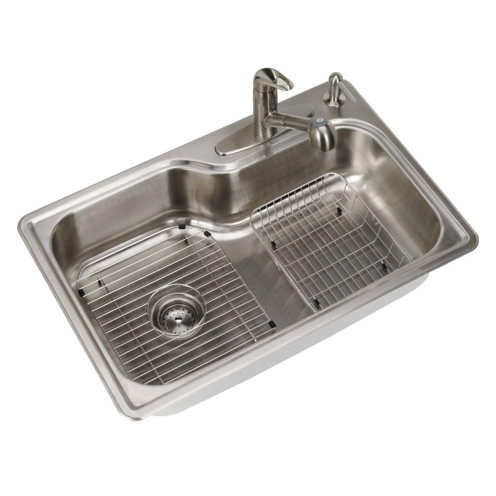 All-in-One Drop-in Stainless Steel 33 in. 4-Hole Single Bowl Kitchen Sink