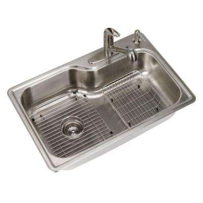 All-in-One Drop-in Stainless Steel 33 in. 4-Hole Single Basin Kitchen Sink