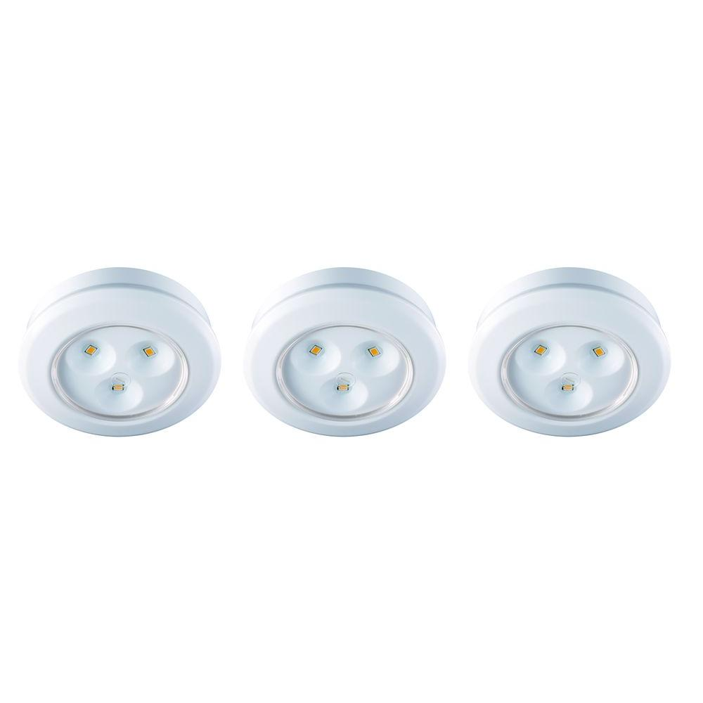 Commercial Electric 2.99 in. LED White Battery Operated Puck Light ...