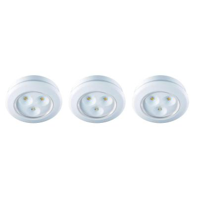 2.99 in. LED White Battery Operated Puck Light (3-Pack)