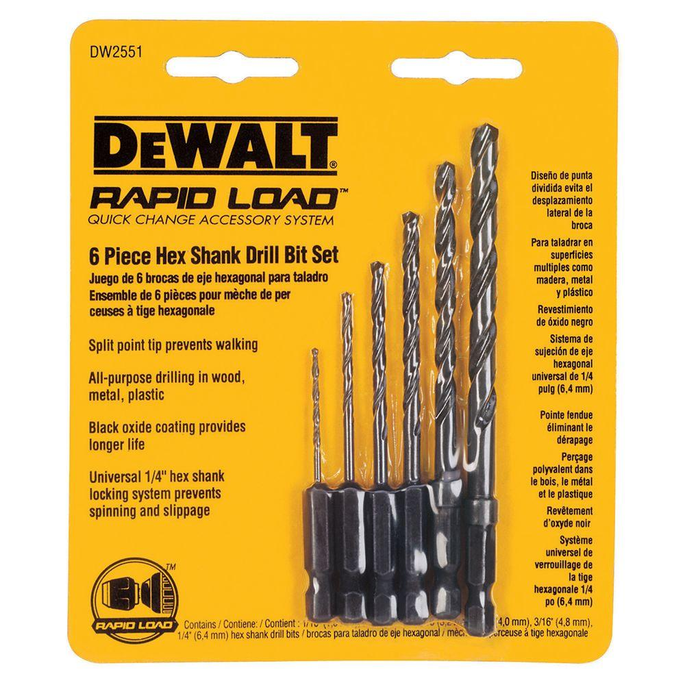 Black Oxide Hex Shank Drill Bit Set (6-Piece)