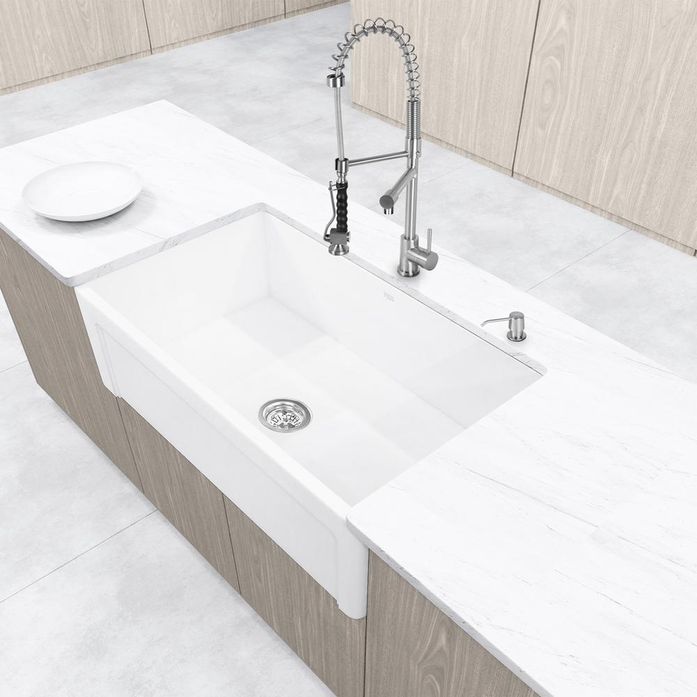 VIGO Casement Front Farmhouse Matte Stone 36 inch Single Bowl Kitchen Sink by VIGO