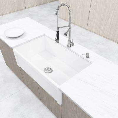 Casement Front Farmhouse Matte Stone 36 in. Single Bowl Kitchen Sink