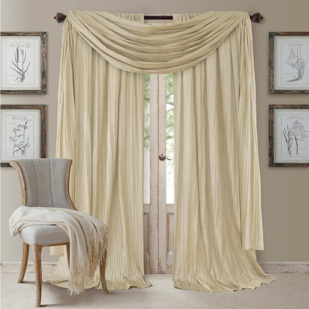 Null Semi Opaque Ivory Rod Pocket 2 Window Curtain Panel   52 In.