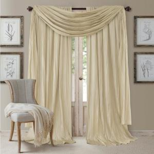 Semi-Opaque Ivory Rod Pocket 2-Window Curtain Panel - 52 inch W x 95 in .L and 1-Scarf Valance - 52 inch W x 216 inch L by