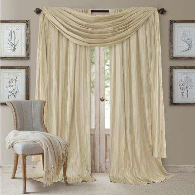 Ivory Rod Pocket 2-Window Curtain Panel - 52 in. W x 84 in. L and 1-Scarf Valance - 52 in. W x 216 in. L