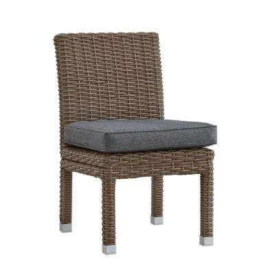 Camari Mocha Armless Wicker Outdoor Dining Chair with Gray Cushion (Set of 2)