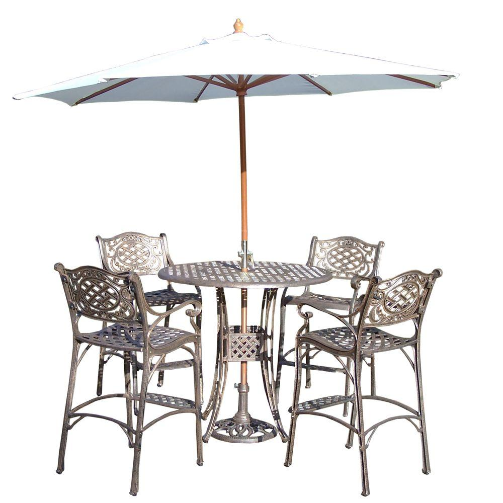 Round Bar Dining Set Table Featured Umbrella