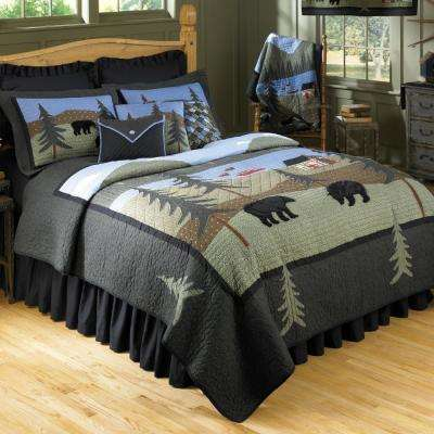 Pine Green, Sky Blue and Black Bear Lake Cotton Quilted Throw