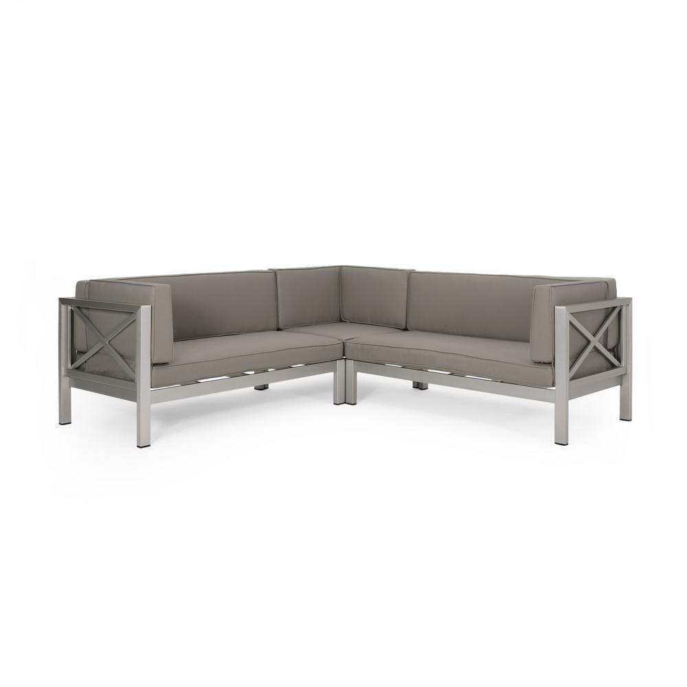 La Vista Silver 3-Piece Aluminum Outdoor Sectional Set with Dark Grey Cushions