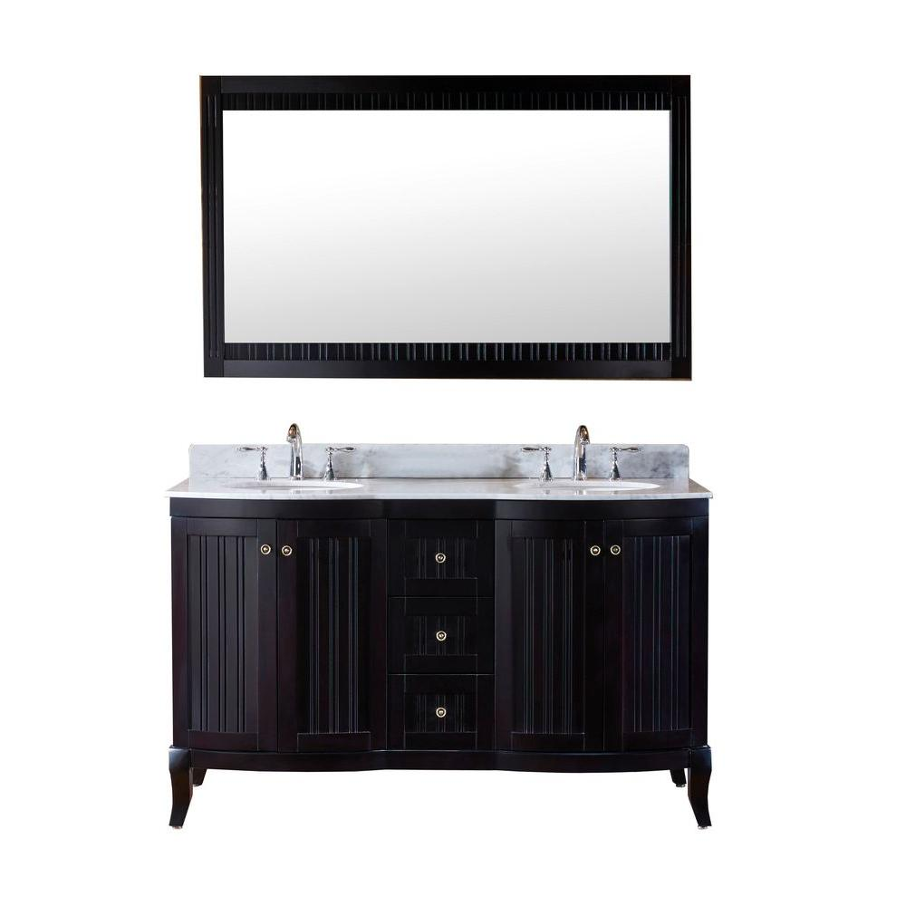 Virtu USA Khaleesi 60 in. Double Vanity in Espresso with Marble Vanity Top in Italian Carrara Espresso and Mirror