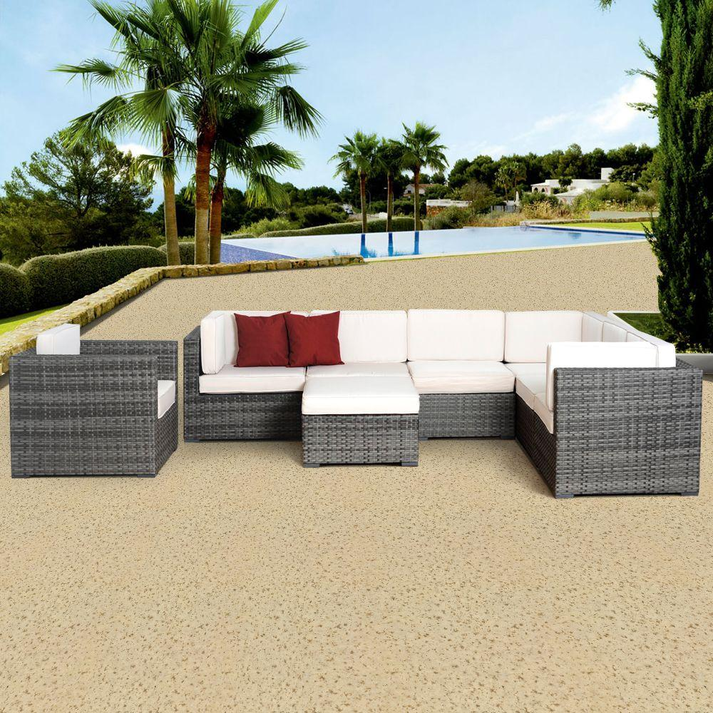 Atlantic Contemporary Lifestyle Marseille Grey 8-Piece All-Weather Wicker Patio Seating Set with Off-White Cushion