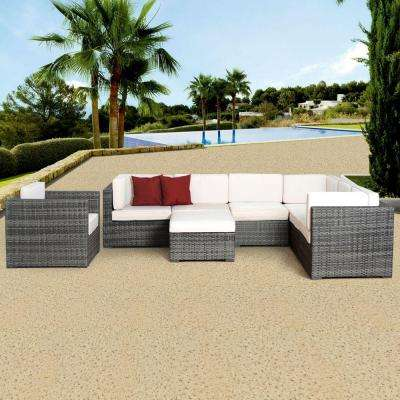 Marseille Grey 8-Piece All-Weather Wicker Patio Seating Set with Off-White Cushion