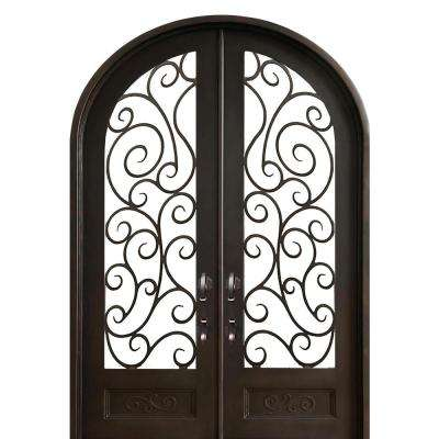 72 in. x 108 in. Lauderdale Right-Hand Outswing Painted Iron Prehung Front Door 3/4-Lite Hammered Glass and Hardware