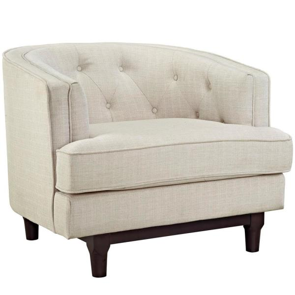 MODWAY Beige Coast Upholstered Arm Chair EEI-2130-BEI