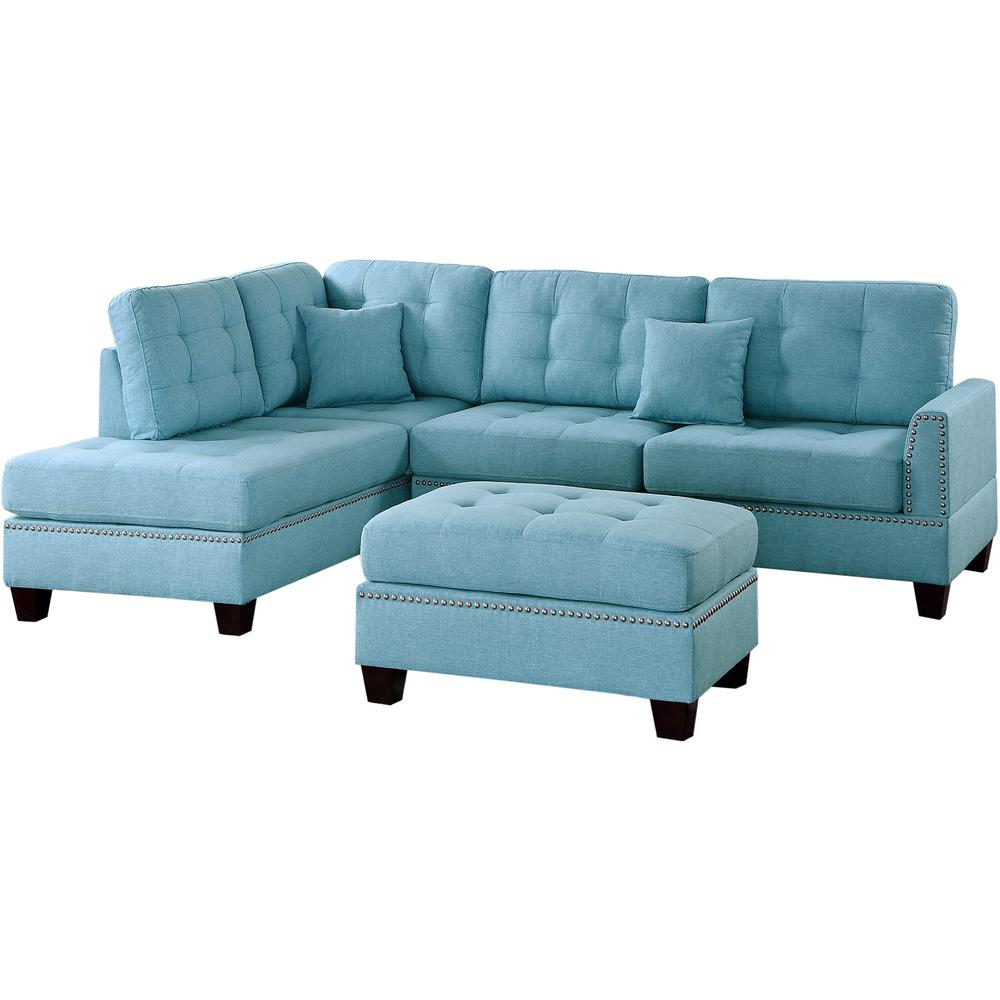 Venetian Worldwide Barcelona Blue 3-Piece Sectional Sofa with ...
