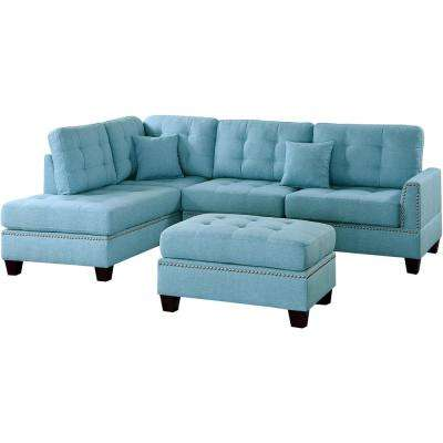 Barcelona Blue 3-Piece Sectional Sofa with Ottoman