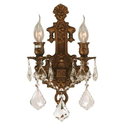 Versailles 2-Light French Gold with Clear Crystal Wall Sconce