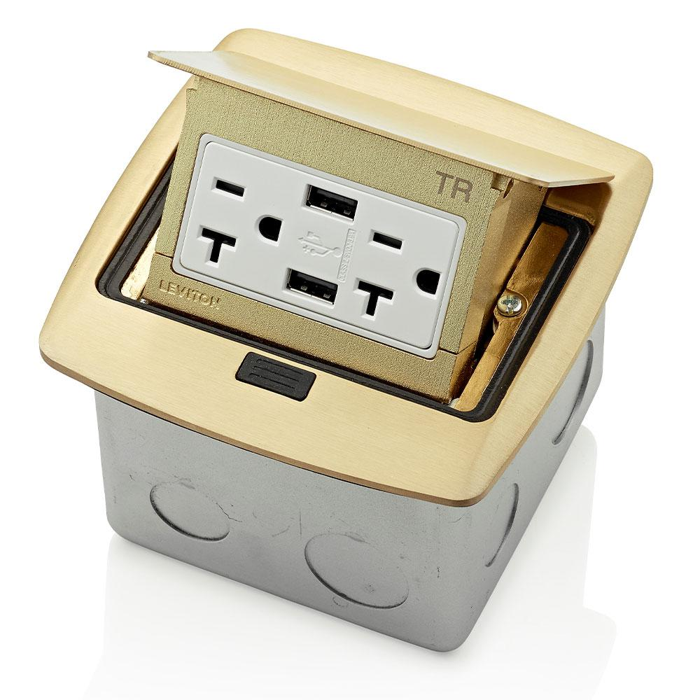 Leviton Pop-Up Floor Box with Dual Type A, 3.6 Amp USB Charger, 20 Amp Outlet, Brass