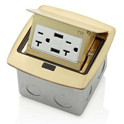 Pop-Up Floor Box with Dual Type A, 3.6 Amp USB Charger, 20 Amp Outlet, Brass