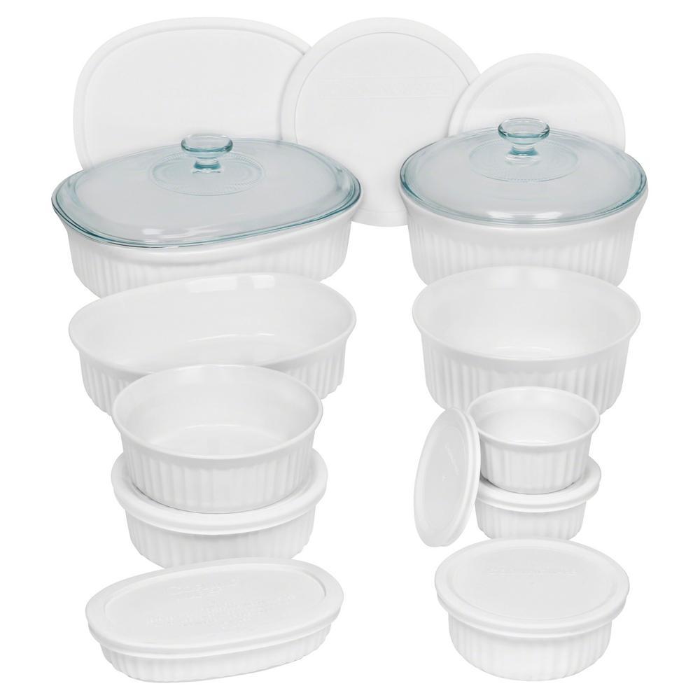 French White 20-Piece Ceramic Bakeware Set