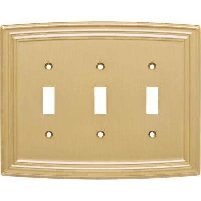Emery Decorative Triple Light Switch Cover, Brushed Brass