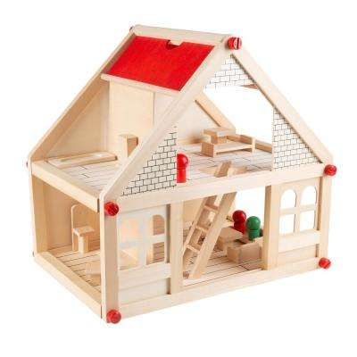2-Story Wooden Dollhouse with Furniture and Doll Accessories