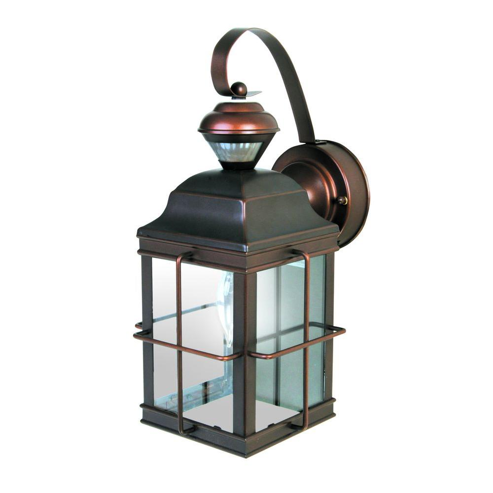 Heath Zenith New England Carriage 150 Degree Antique Bronze Motion Sensing Outdoor Lantern