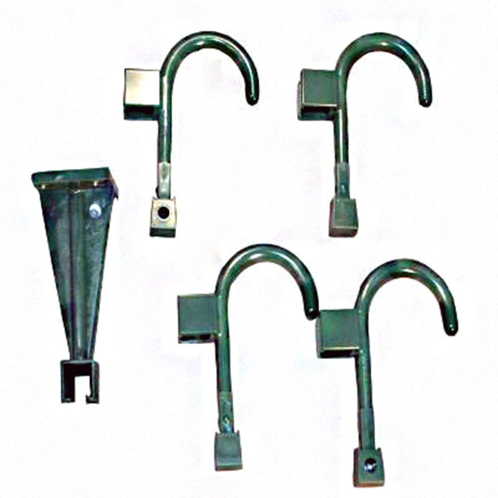 Wall Hanger and 4 Universal Hooks in Bistro Green