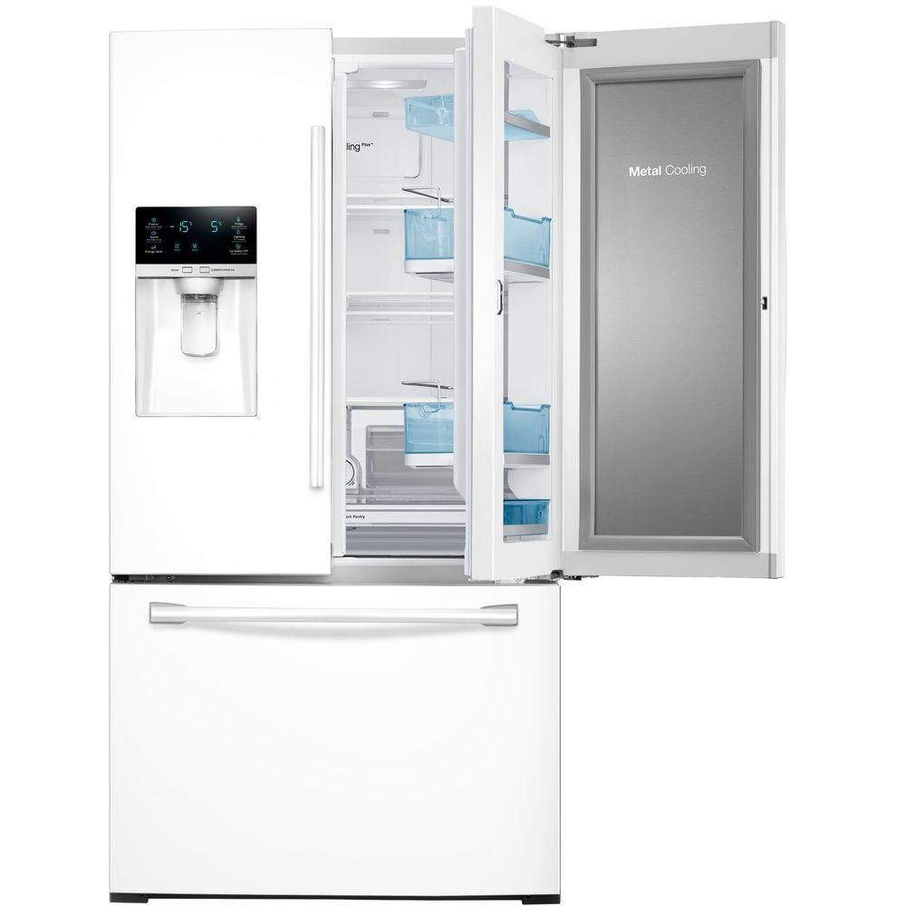 Samsung 278 cu ft food showcase french door refrigerator in samsung 278 cu ft food showcase french door refrigerator in white rf28hdedpww the home depot rubansaba
