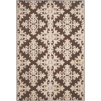 Cottage Indoor/Outdoor Brown/Cream 4 ft. x 6 ft. Area Rug