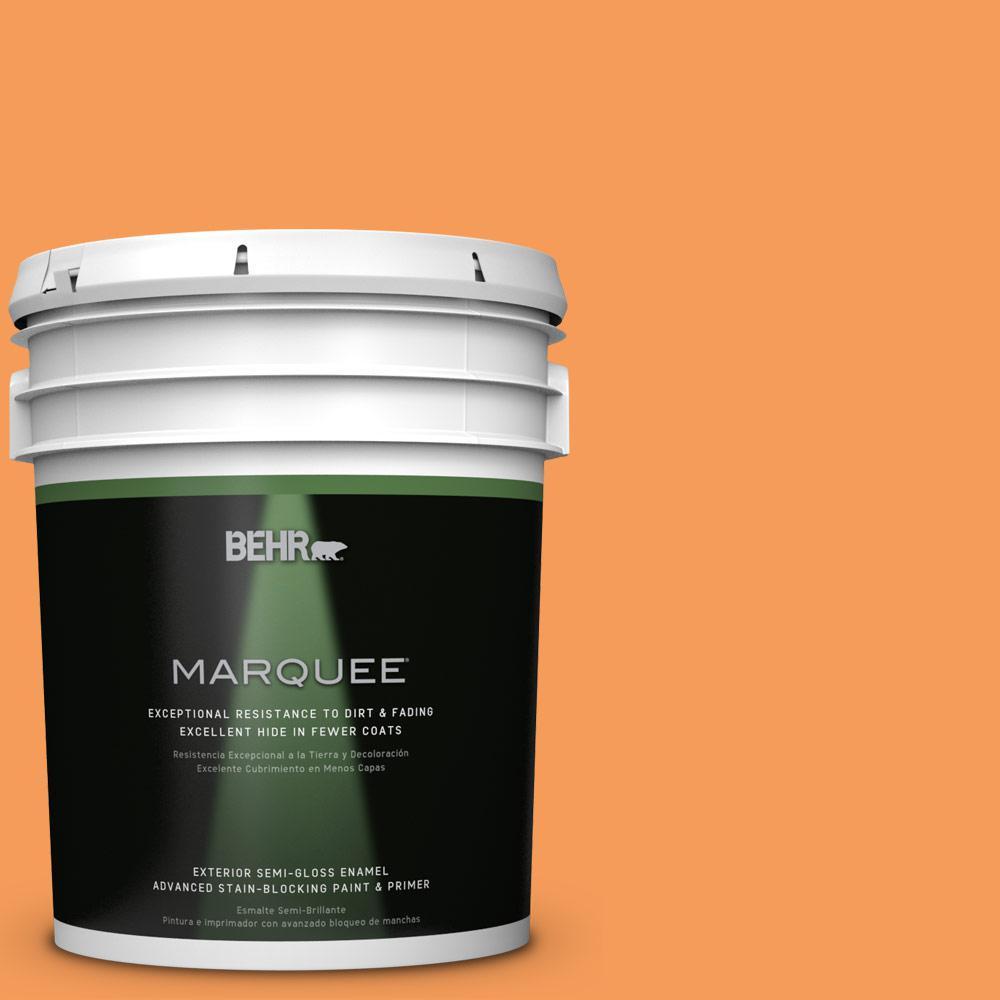 BEHR MARQUEE 5-gal. #P220-6 Bergamot Orange Semi-Gloss Enamel Exterior Paint